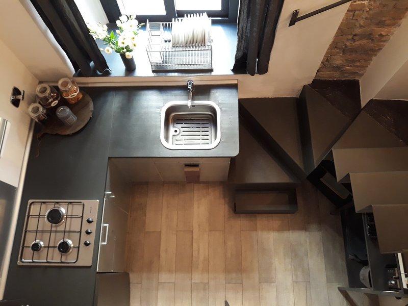 cocina vista desde la habitación de arriba ..