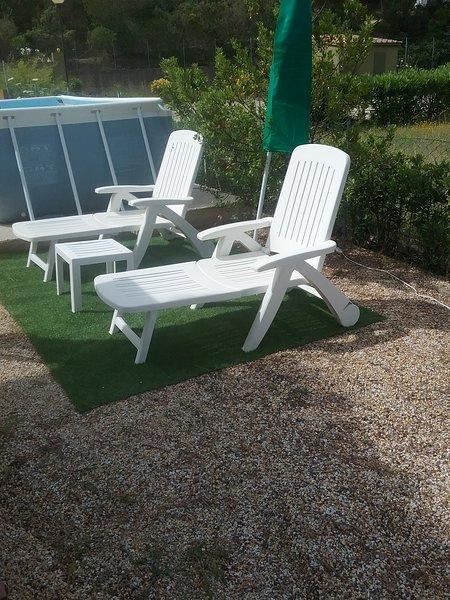Complimentary sun loungers sun umbrella, small table