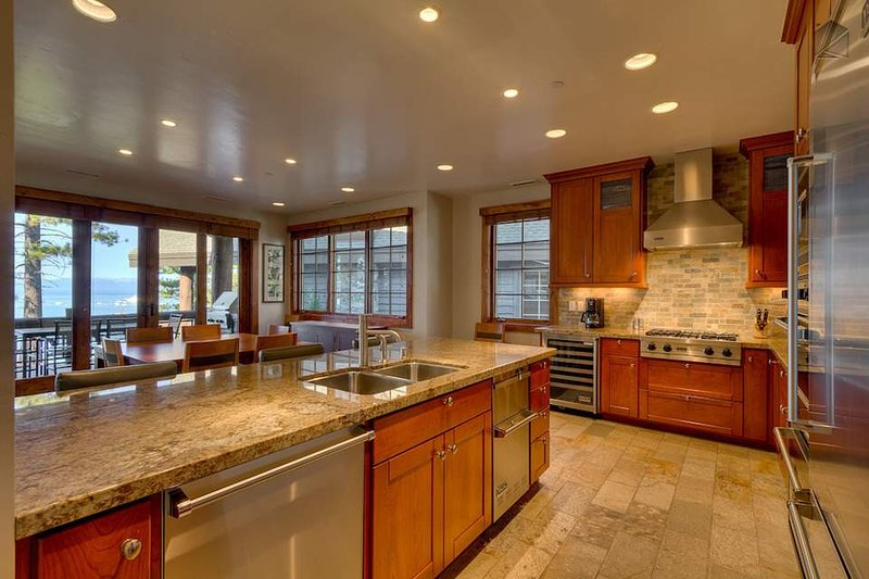 The gourmet kitchen is outfitted with premium Viking appliances.