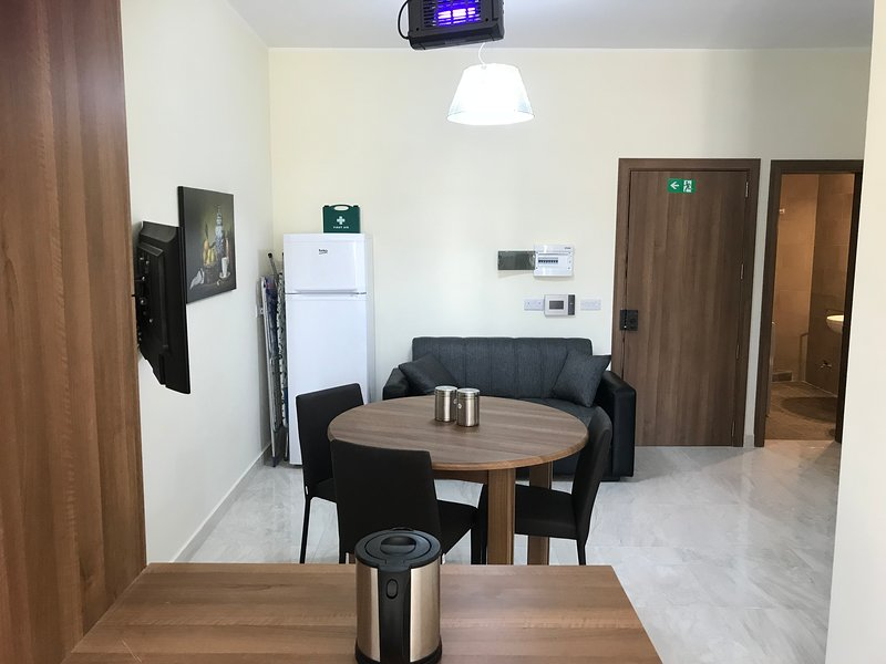 Apartment is equipped with all self catering needs,kettle, microwave, Oven, Washing machine, toaster