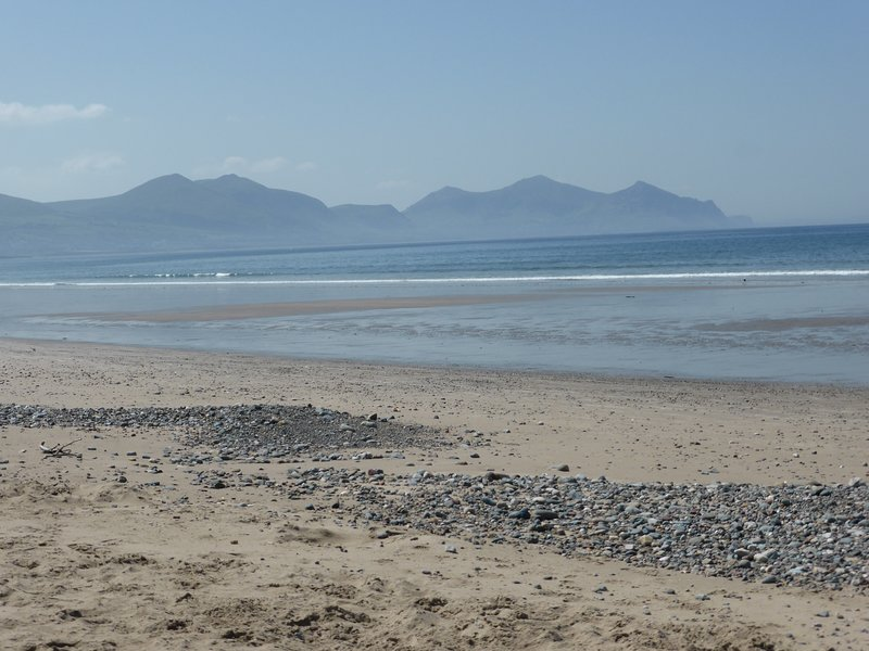 View of the mountains from Dinas Dinlle Beach