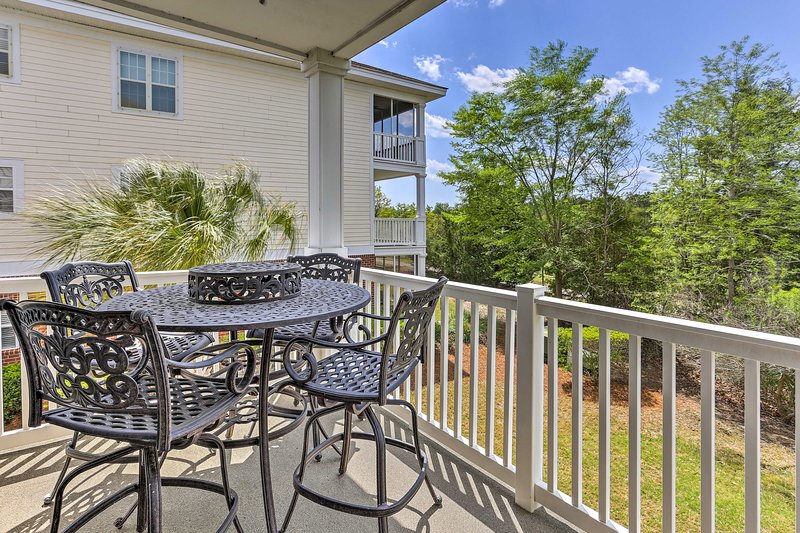 Enjoy the serene South Carolina surroundings on the private patio!