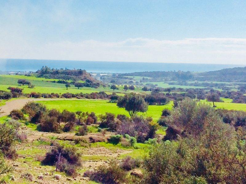 Maroni countryside and sea view. Dalla's Cyprus Retreat, Maroni village, Larnaca district, Cyprus.