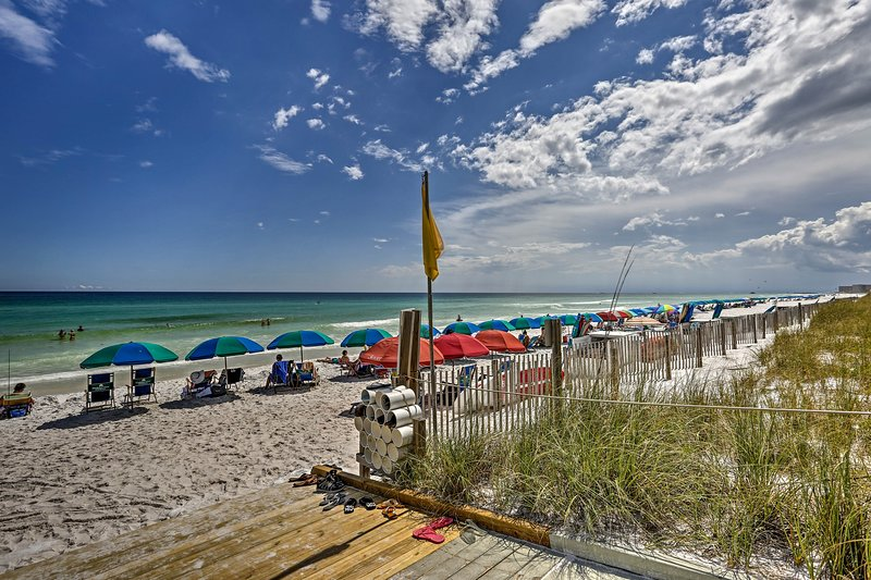 Slip on your sandals and walk to the beach from the 2-bedroom, 2-bath condo.