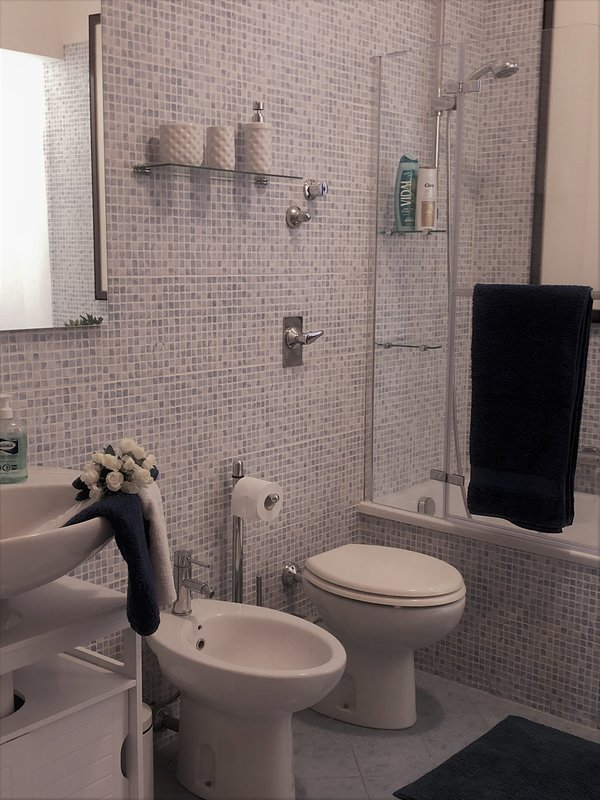 the bathroom with tub and shower