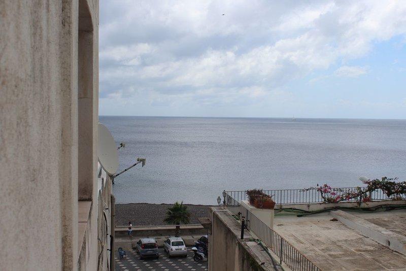 terrace partially, sea, mountains