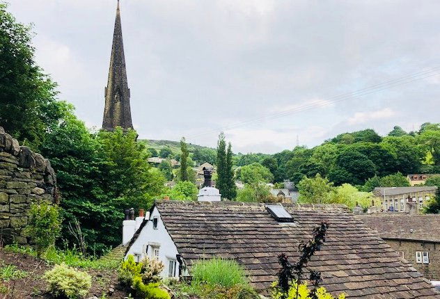 View of the village from the old packhorse bridge