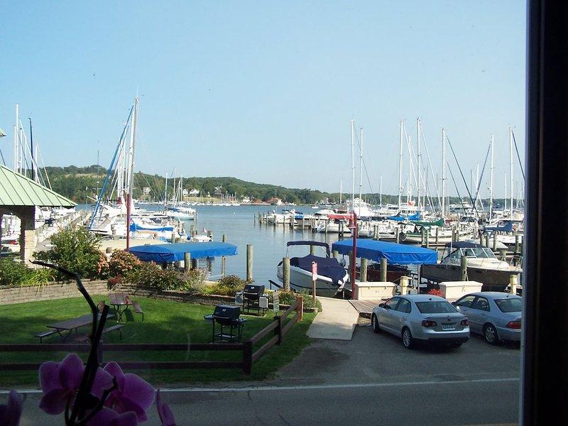 Vista del patio frontal de la marina en el verano