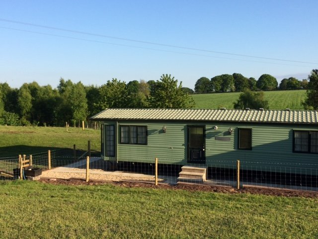 Mobile home access with private area.