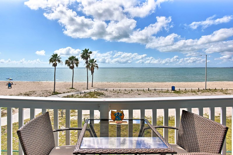 Enjoy beach views from the balcony of this Corpus Christi vacation rental condo.