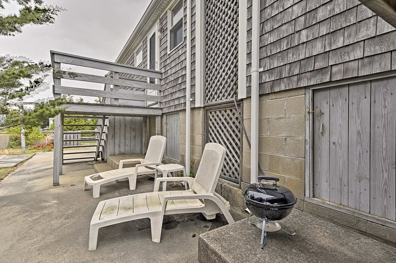Relax on the back patio and soak up the sun.