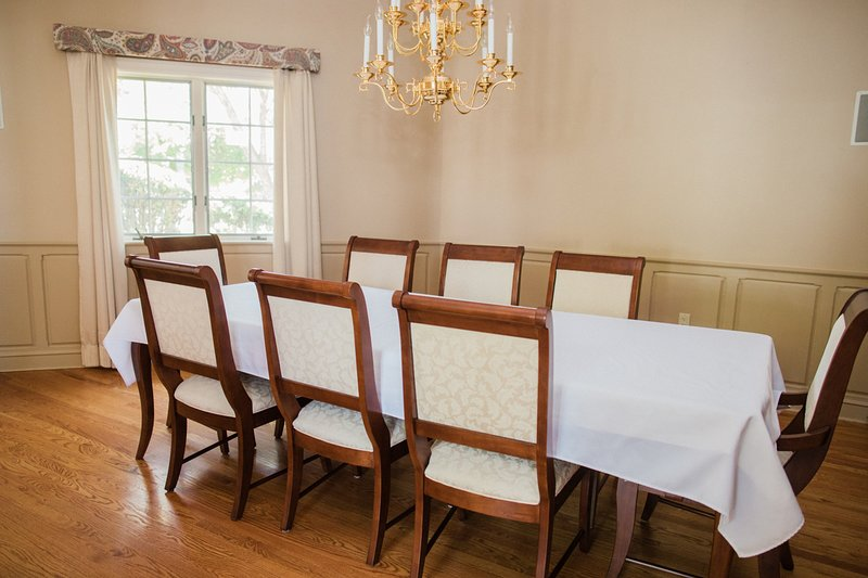 Eat at the formal dining table for 8-10