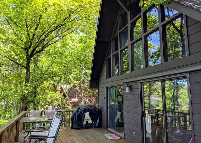 Lucky Dog Lodge - Pet Friendly, Screened Porch, Community Pool Sleeps 8, holiday rental in Deep Gap