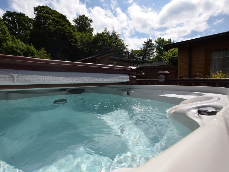 Chill out in the hot tub on the decking