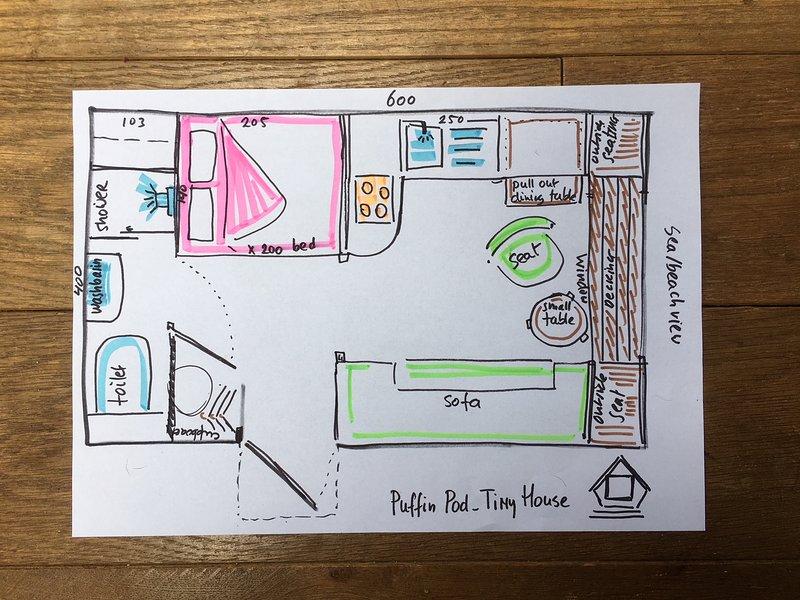 planta, cocina abierta / sala de estar, Kingbed 160x200, baño aseo con ducha con lavabo y WC