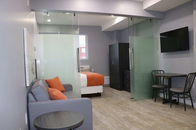 One Bed with glass doors