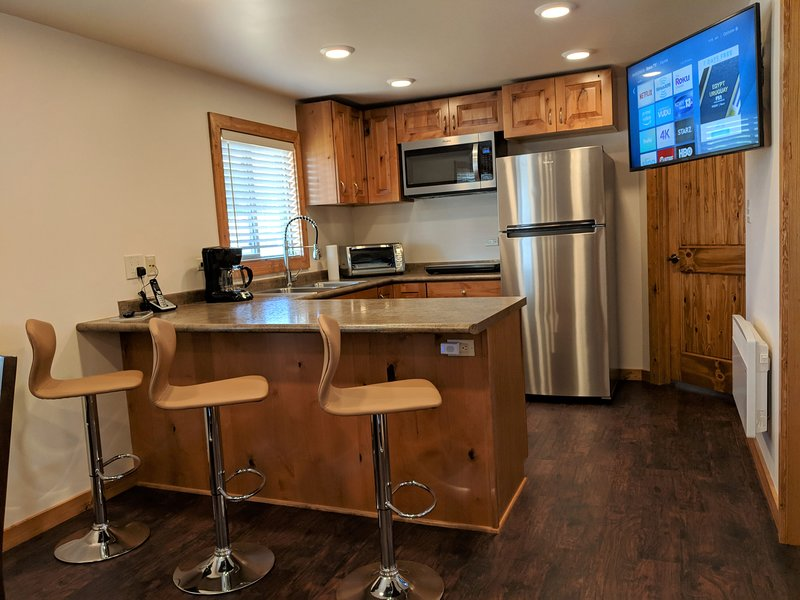 East Kitchen w/Induction Cooktop, Fridge/Freezer,   Dishwasher, Convection Microwave, Toaster Oven.