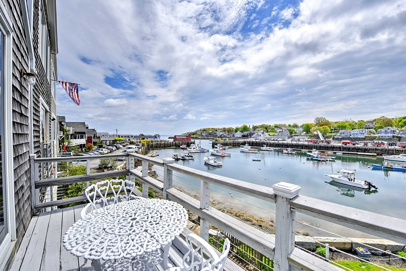 Enjoy views of Rockport Harbor from the deck of your vacation rental home.