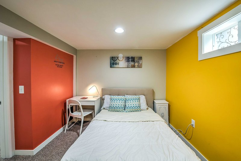 A full-sized bed completes this final bedroom.