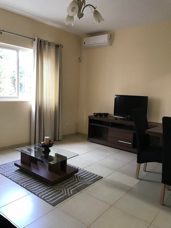 Living room with satellite TV