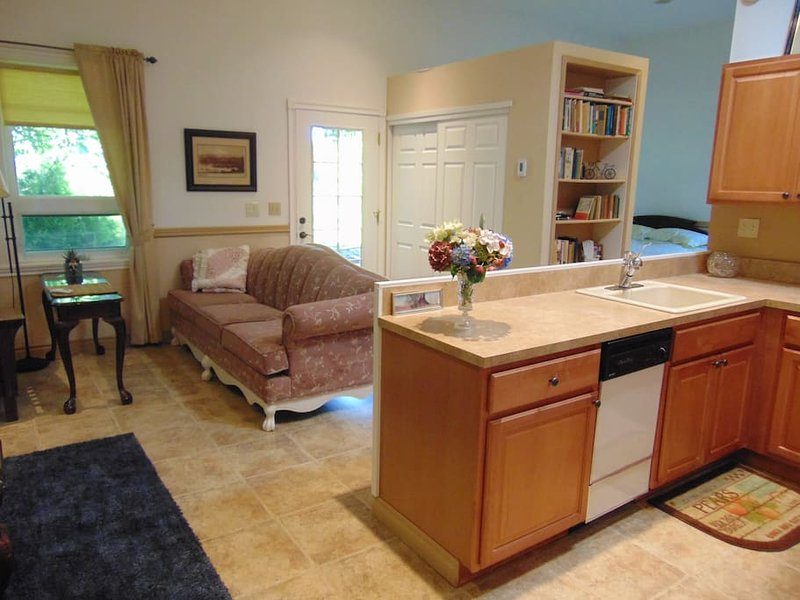 Spacious open floor plan includes complete kitchen, living/dining area, and bedroom/sleeping area.