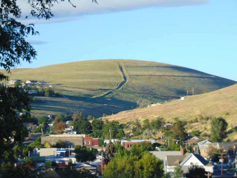View from front porch/deck of hillside and charming small town of Heppner.