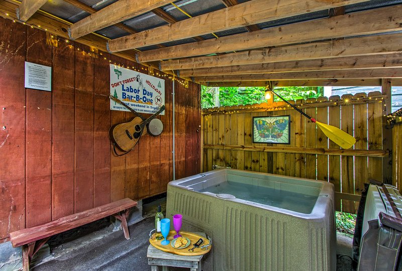 Adults can enjoy a long soak in the private hot tub.