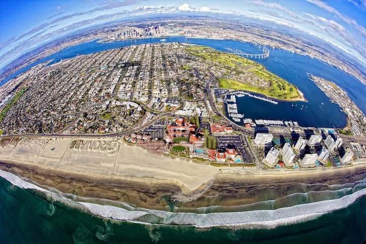 Looking down on Coronado and San Diego by plane