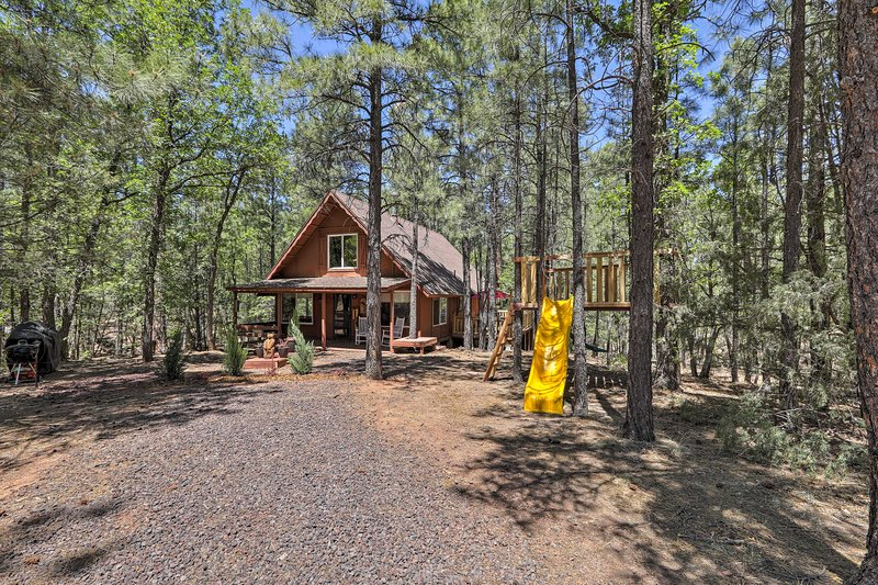 Minutes from fishing and golf, this cabin offers fun year round.