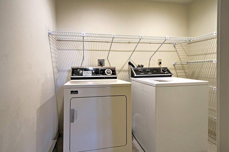 Keep you vacation wardrobe fresh with full laundry machines.
