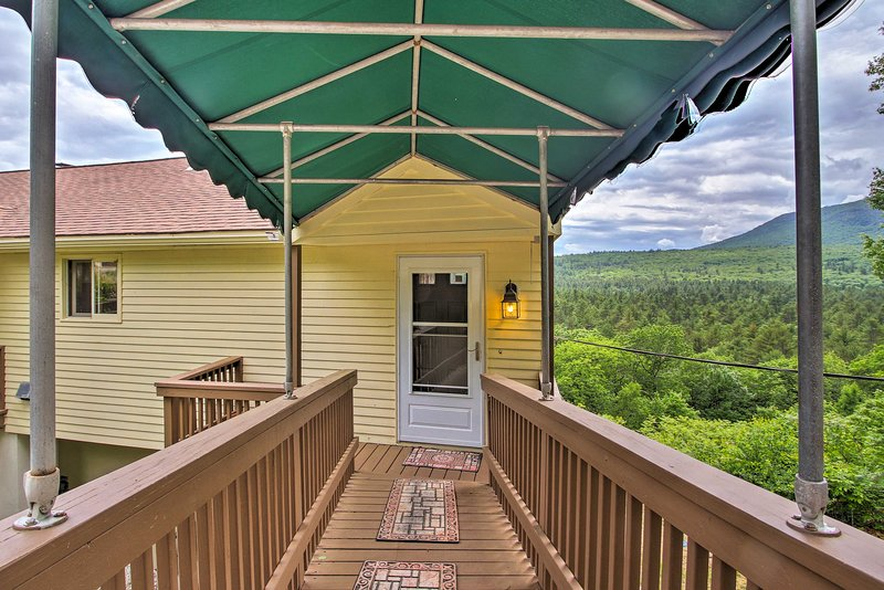The 3-bedroom, 2.5-bath getaway rests in the White Mountain National Forest.