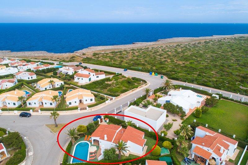 Aerial view showing location of Villa Iris