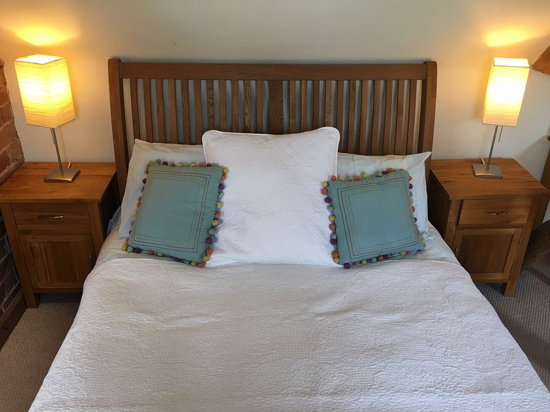 Comfortable king size bed with side tables and lamps