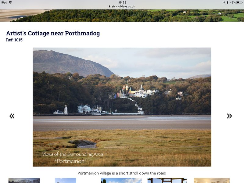 The cottage is within the Portmeirion Conservation Area. Just out of shot to the right.