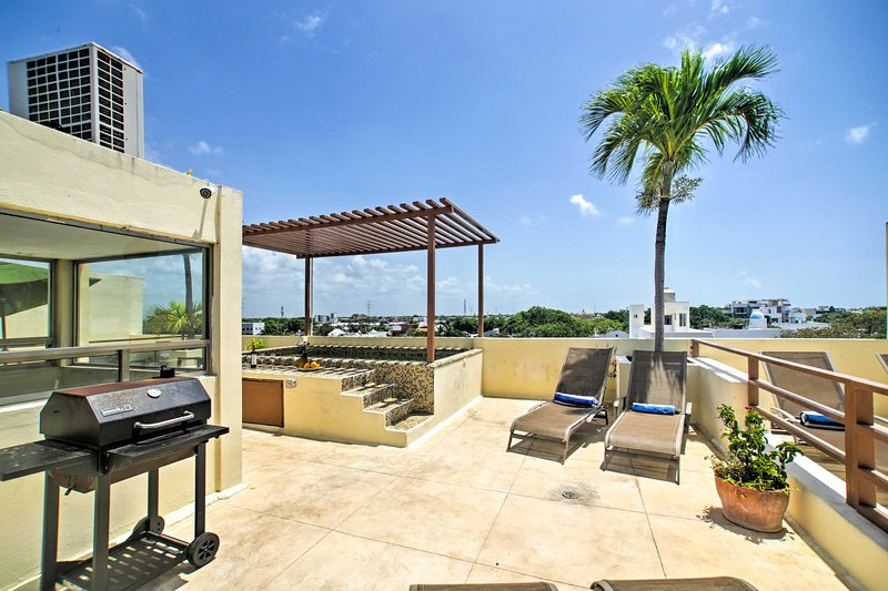 Admire the views while you soak in the rooftop pool or sunbathe.