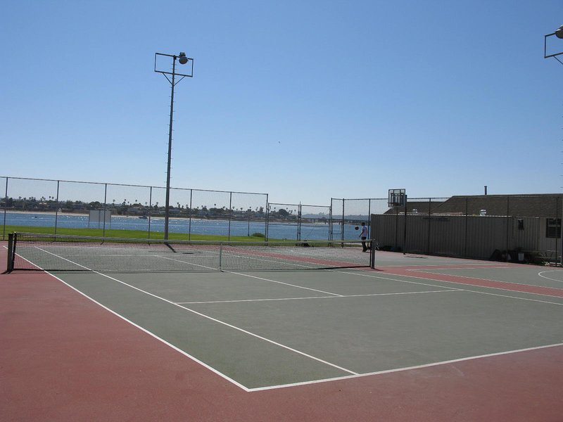Free Tennis/Basketball Courts, Kids Play Area 3 Minute Walk From House. Mission Bay is in Background