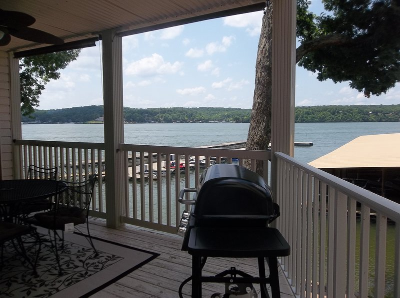 Enjoy the view of the lake while grilling right outside your door