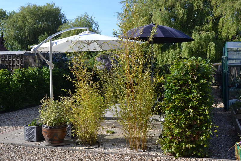 Further view of seating area in garden for guests use,