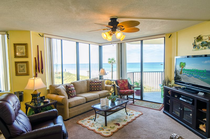 A perfect beach front view from every room in this elegant condo.