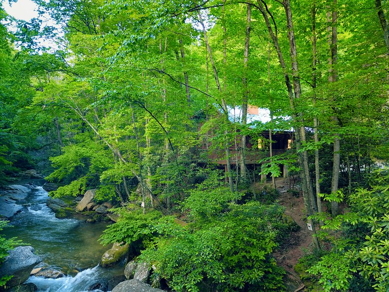 Riverfront Log Cabin - Private Waterfall and Scenic Nature Views, vacation rental in Laurel Springs