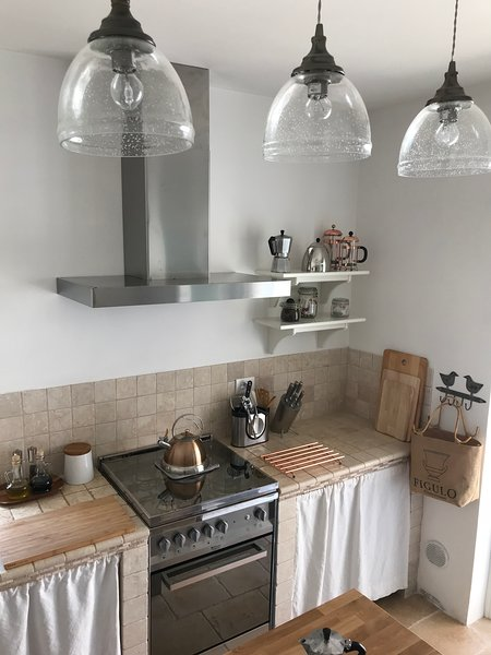 Stainless steel 4 ring gas hob and oven with extractor fan and feature lighting.