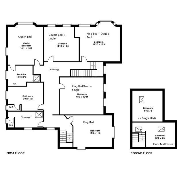Zweiter Stock hat jetzt Doppelbett und 2 Einzelbetten