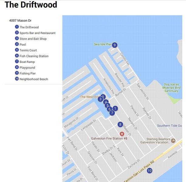 Mapa de las instalaciones alrededor de The Driftwood