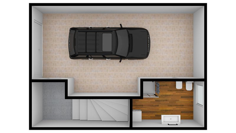 Map private garage with second bathroom