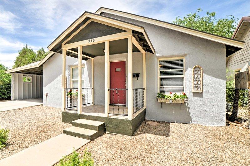 The 3-bedroom, 2-bathroom vacation rental home is in a historic neighborhood.