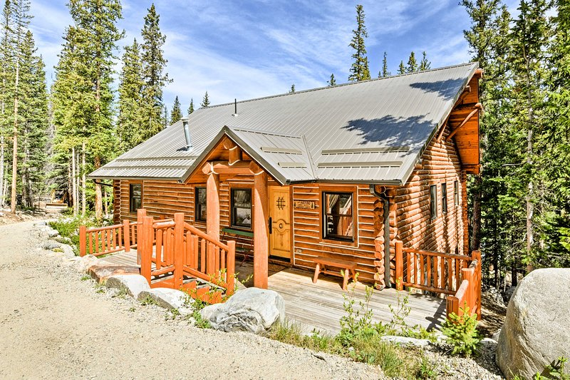 The 3-bedroom, 2-bathroom home rests on 10 picturesque mountain acres.