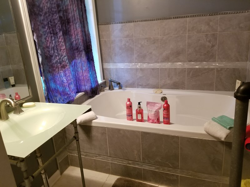 Master bath with soaker tub and shower stall.