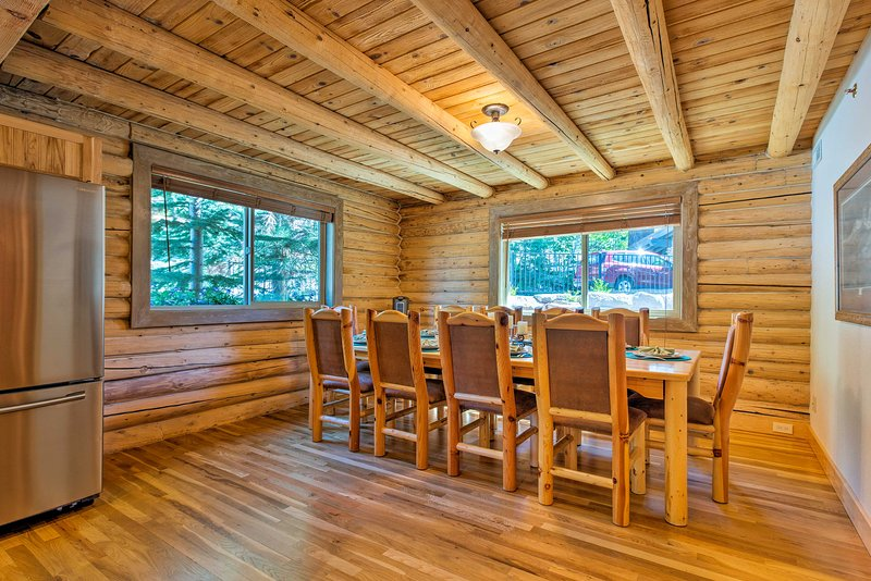 Bring the group together for a meal around this custom 10-person table.