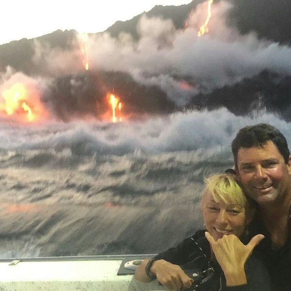 2016 lava ocean entry from a boat. This was not photo shopped!