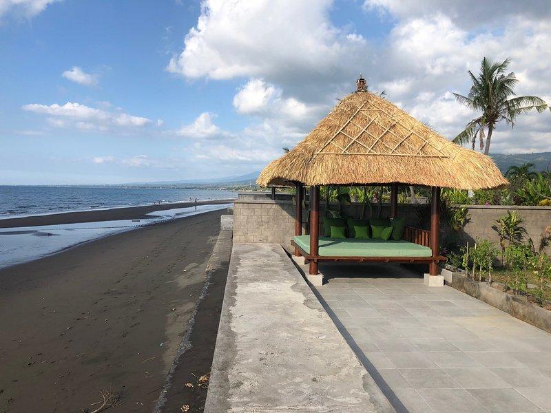 baal te zitten aan het strand; geweldig voor sunset